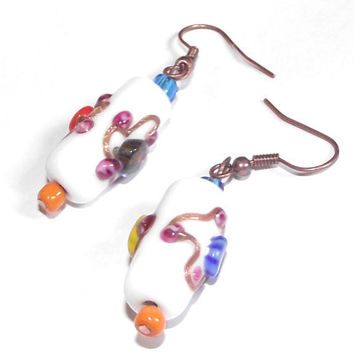 white earrings porcelain effect with gems
