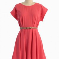 shining star belted dress in coral at ShopRuche.com