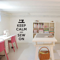 "Keep Calm and Sew On Decal - 11.5"" x 24"" - Vinyl Wall Art Decal Sticker"