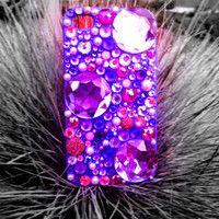 Sparkly Purple & Pink Custom iPhone 4/4S Case- Magical Magenta
