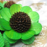 Emerald Green Wood Sunflowers Made from Birch Shavings 2 dozens by accentsandpetals on Zibbet