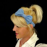 Navy blue/lightblue pinstripe fabric bow stretch headband for adult/child
