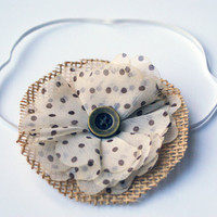 Cream and Brown Polka Dot Flower with Burlap Headband