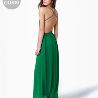 LuLu*s Exclusive Rooftop Garden Backless Green Maxi Dress
