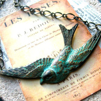 grungy patina bird necklace