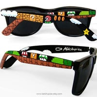 Sunglasses - Custom Wayfarer style sunglasses Super Mario unique hand painted - Piranha Plant - Question block - 1UP Mushroom