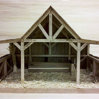 Handmade Wooden Manger Very Unique with Lots of Detail