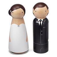 Hand-painted Wooden Couple Cake Topper at The Knot Wedding Shop