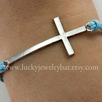 Cross bracelet, antique silver cross bracelet, blue wax cords