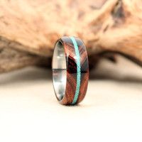 Bookmatched Arizona Desert Ironwood With Turquoise Stripe Lined With Titanium Wooden Ring
