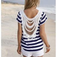 STRIPED CROCHET BACK TEE