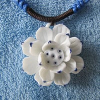Ceramic Necklace.White And Blue Flower.Ceramic Art,Handmade.Blue Glaze