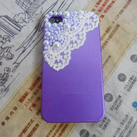 iphone 4 4S hard Case cover with Pearl Lace shell For iPhone 4 Case, iPhone 4s Case, iPhone 4 GS  Case,iPhone hand case cover-079