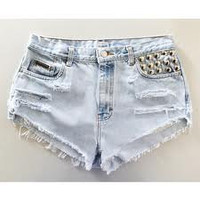 High Waisted Hipster Studded Distressed Shorts
