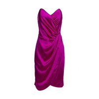 REISS Womens Cocoa Dark Fuchsia Bandeau Silk Dress