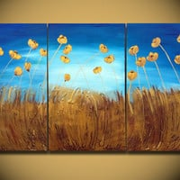 Poppies Painting, ORIGINAL Large Abstract, Free Shipping Textured Gold Flowers, Landscape Painting, Modern Palette Knife, Ready to Hang 48x