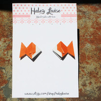 Earing Studs Origami Goldfish Fish Orange Post One by HaleyLouise