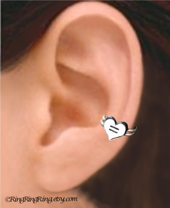 Love is Equal Heart silver ear cuff earring jewelry - 925 sterling earcuff - Show your support for gay marriage - Left  073112