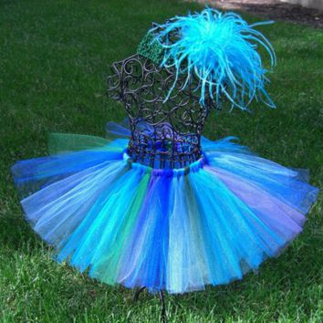 Posh Peacock Tutu ----  FREE headband and flower clip ----  removable ostrich clip ---  Blue, Green, Purple, Tutu