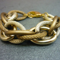TWO TONE Large Chunky Gold & Bronze Entwined Rope Chain Bracelet