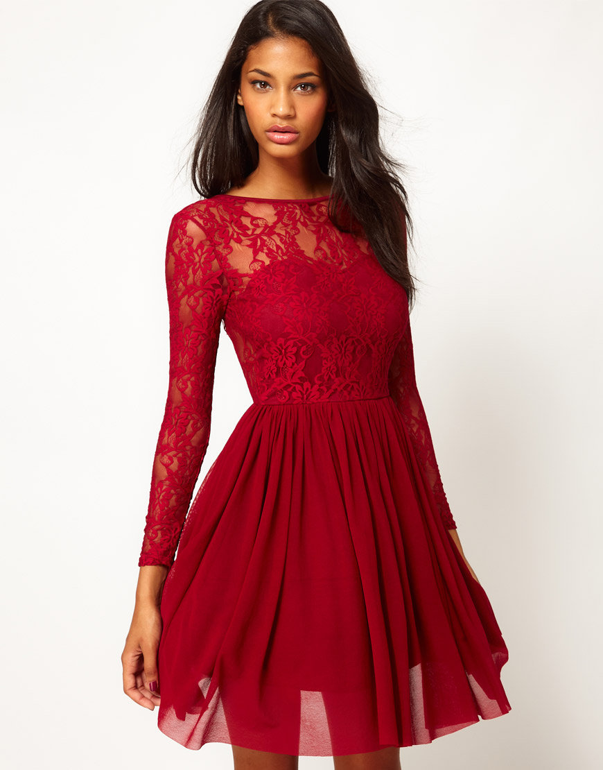 Rare Lace Sweetheart Tutu Skater Dress at asos.com