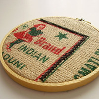 Embroidery hoop wall art decor Upcycled rice bag, burlap OOAK