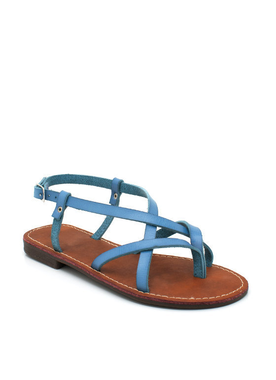 strappy-leather-sandal BLACK FUCHSIA GREEN TURQUOISE WHITE - GoJane.com