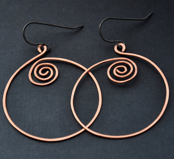 Celtic Wire Earrings, Copper Jewelry, Handmade Spiral Hoops, Hoop Earring