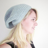 Crochet Slouchy Beanie The Derby Square Hat in Frost