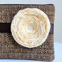 Chocolate Brown Clutch with Handmade Cream by KellysKeepsakes