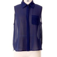 Fresh Navy Sleeveless Shirt by Chic+ - Tops - Retro, Indie and Unique Fashion