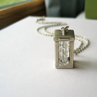silver lantern necklace light box