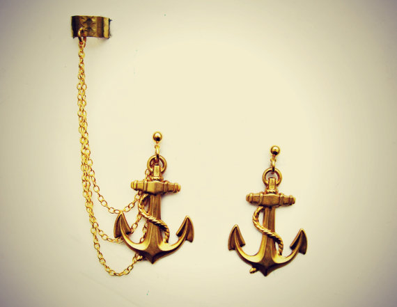 golden anchor ear cuff and earrings
