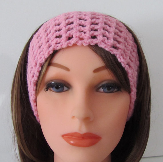 Crocheting Over A Hair Band : Crochet Headband in Pink , Crochet Hair from Madebyfate on Etsy