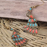Peacock Coral and Turquoise Vintage w Gold Dangle Earrings Statement  Piece HIGH FASHION