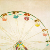 Ferris wheel photo circus art carnival photography beige tones summer fun midway muted colors - Peaches and Cream 8x8