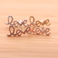 LOVE stud earrings, in pinkgold