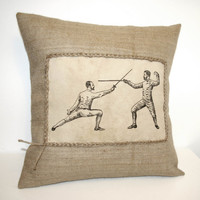 Vintage Two Fencers Hessian Jute Burlap Canvas Pillow Cushion Cover 16""