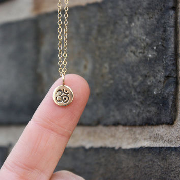 Tiny Om Charm Necklace - Yoga Jewelry . Little Bronze Om . 14K Gold Filled Chain . Simple . Hand-Stamped Gift Box Included