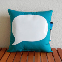 Dry-Erase Quote Pillow Teal- Quote Me by Nicole Steward