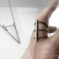 RING GEOMETRON in Sterling Silver. Geometric and Minimalistic. Hammered, Forged. Handmade.