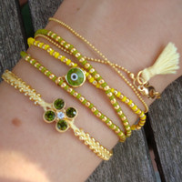 FREE SHIPPING Evil Eye Beaded Friendship Bracelet Set - Yellow Green Friendship Bracelet Set