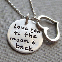 Love you to the moon and back necklace - Sterling Silver necklace with a Heart charm - Keepsake