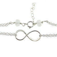 Infinity Sterling Silver Bracelet - Sideway Figure Eight - Bridesmaids Bracelets - Friends Forever - Forever Love
