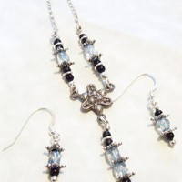 Necklace Earrings Set Sterling Silver Topaz Onyx 3 pieces