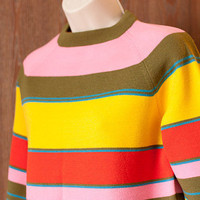 Vintage women&#x27;s sweater: White Stag brightly striped crew neck, women&#x27;s large