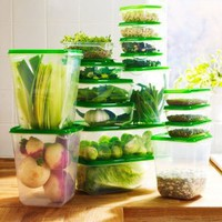Ikea Foodsaver Food Containes, Set of 17, Clear, Green BPA Free: Kitchen & Dining