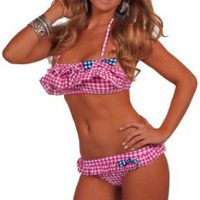 Womens Swimwear Bandeau Halter Ruffle Two Piece Sexy Bikini: Amazon.com: Clothing