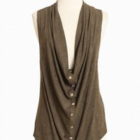 cypress leaf draped vest at ShopRuche.com