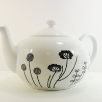 Tea Pot Hand Painted Porcelain Black Modern Design